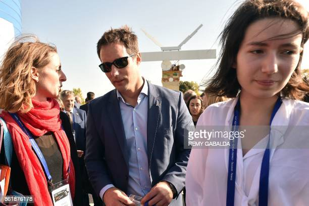 French astronaut Thomas Pesquet and Adelaide Thomas of European Space Agency arrive to attend the 30th congress of the Association of the Space...