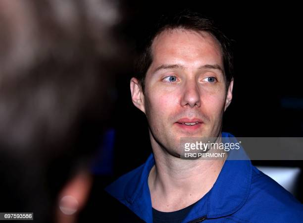 French astronaut Thomas Pesquet answers question at the European Space Agency pavillon on June 19 2017 on the opening day of the International Paris...