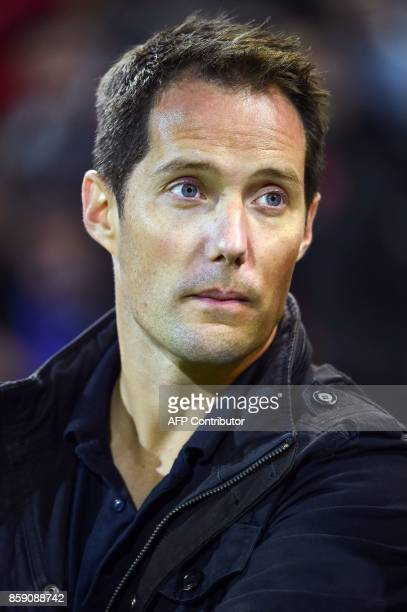 French astronaut Thomas Pesquet attends the French Top 14 rugby union match Stade Toulousain vs Clermont Auverge at the ErnestWallon stadium in...