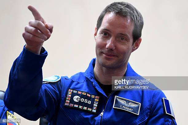 French astronaut Thomas Pesquet gestures during a press conference at the Russianleased Baikonur cosmodrome on November 16 2016 The International...