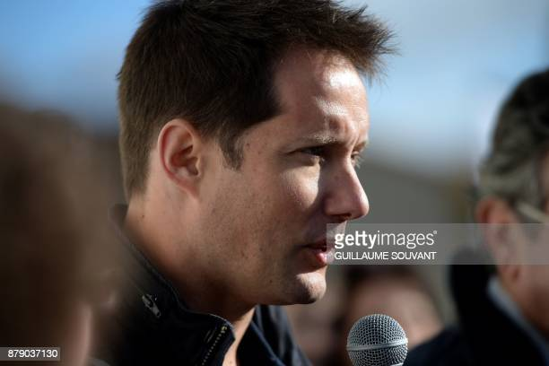 French astronaut Thomas Pesquet give a speech as part of the inauguration of a Dojo on his name on November 25 2017 at Beaumont Western France during...