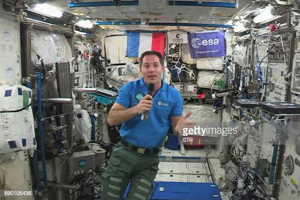French astronaut Thomas Pesquet gives an interview to AFP on May 30 aboard the International Space Station Pesquet will come back to Earth on June 2...