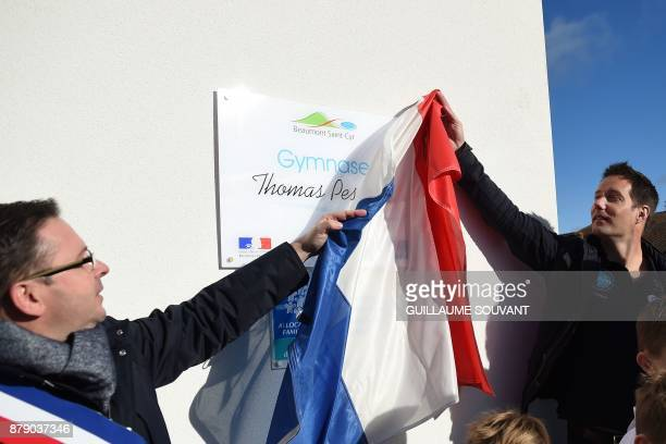French astronaut Thomas Pesquet unveil the plaque as part of the inauguration of a Dojo on his name on November 25 2017 at Beaumont Western France...