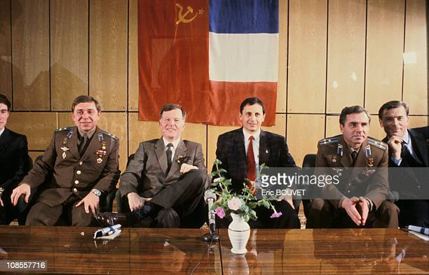 French astronauts JeanLoup Chretien and Michel Tognini with their Soviet counterparts in Kazakhstan on November 26th 1988