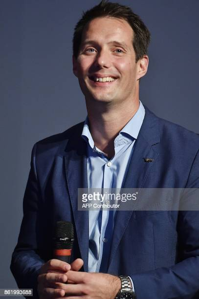French astronauts Thomas Pesquet delivers a speech during the 30th congress of the Association of the Space Explorers at the Cite de l'Espace in...