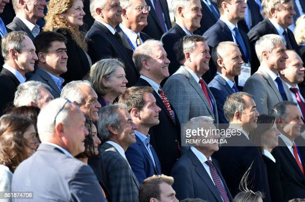 French astronauts Thomas Pesquet of European Space Agency and JeanFrançois Clervoy pose for pictures along with other astronauts during the 30th...