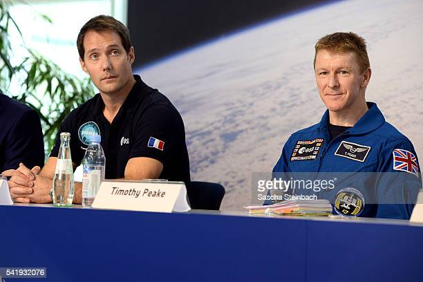French astronout Thomas Pesquet and British astronaut Tim Peake speak to the media at Tim Peake's first press conference since his return from space...