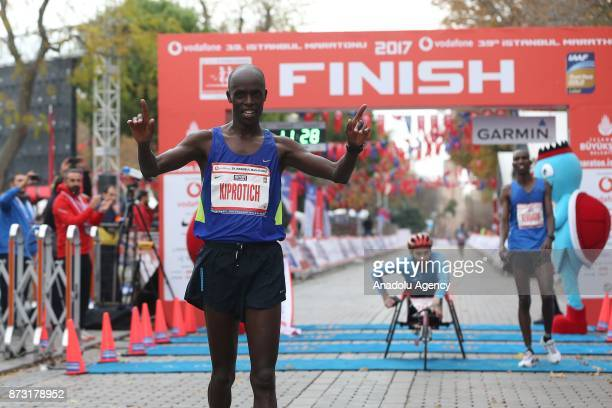French Athlete Abraham Kiprotich finishes first in 42km run within the Vodafone 39th Istanbul Marathon in Istanbul Turkey on November 12 2017 It is...