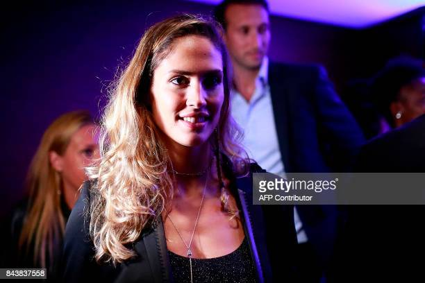 French athlete Elodie Clouvel attends a press conference promoting France's candidacy for the 2023 Rugby World Cup on September 7 in Paris / AFP...