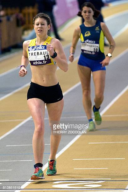 French athlete Enora Trebaul competes to win the 3000 metres walk at the indoors France Elite Athletics Championships in Aubiere near ClermontFerrand...