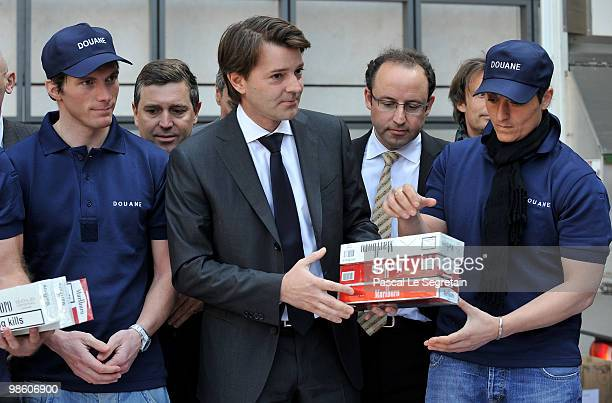 French athlete Jean Marc Gaillard France's Budget Minister Francois Baroin Managing Director of Customs and indirect rights within the Ministry for...