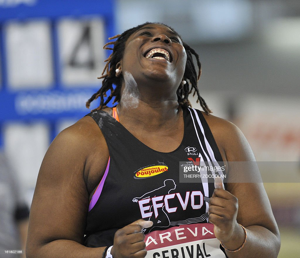 French athlete Jessica Cerival reacts after throwing to 16,81m in the women's shot put contest at the 2013 French Indoor Athletics championships on February 16, 2013 in Aubiere, central France. ZOCCOLAN