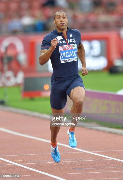 French athlete Jimmy Vicaut runs on track during Mens 100 metres heats during day one of the 22nd European Athletics Championships at Stadium...