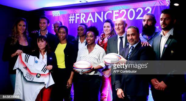 French athletes Elodie Clouvel Fabien Gilot Eunice Barber president of the French Federation of Rugby Bernard Laporte and French former rugby player...