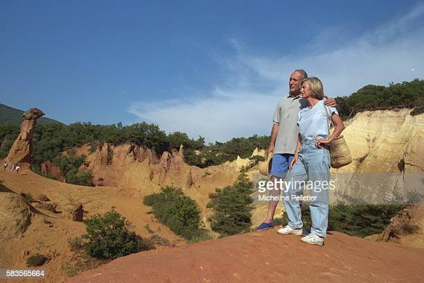 French Attorney General Elisabeth Guigou her husband walking in the hills of the Luberon