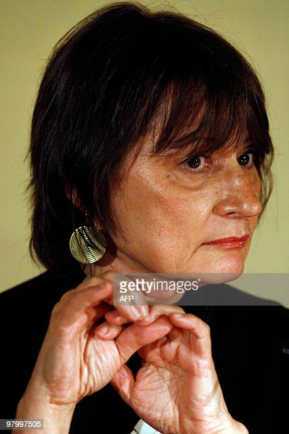 French author Catherine Millet is pictured during a reading of her book 'Jour de souffrance' translated in German with 'Eifersucht' on March 9 2010...