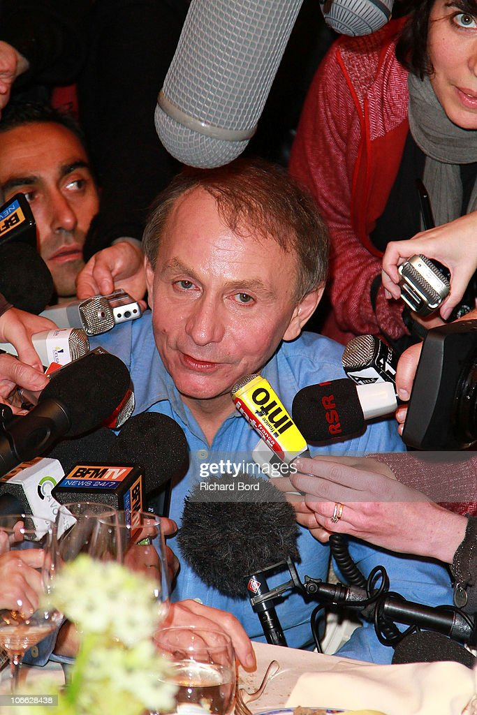 French author <a gi-track='captionPersonalityLinkClicked' href=/galleries/search?phrase=Michel+Houellebecq&family=editorial&specificpeople=2164957 ng-click='$event.stopPropagation()'>Michel Houellebecq</a> gives a press conference after receiving the 2010 Prix Goncourt for his book 'La Carte et Le Territoire', at Restaurant Drouant on November 8, 2010 in Paris, France.