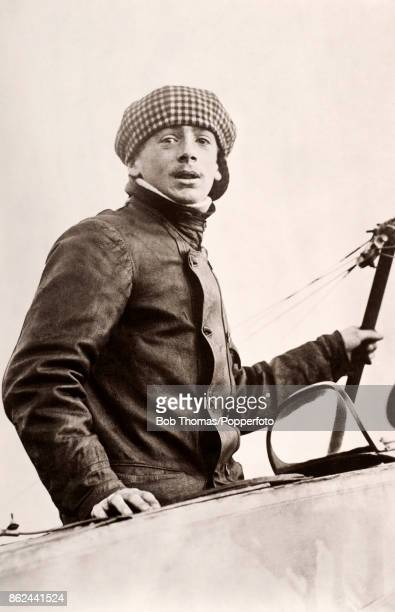 French aviation pioneer Alexandre Marty posing in the cockpit of a Morane Saulnier monoplane circa 1912
