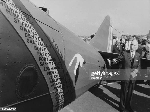 French aviator Maurice Bellonte with the Breguet XIX 'Point d'interrogation' at Le Bourget Paris France 1st September 1980 It was in this aircraft...