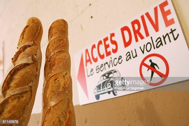 French baguettes are seen at France's first drivein Bakery called 'Bakery Joly' in Port Marly on August 4 2004 near Paris France