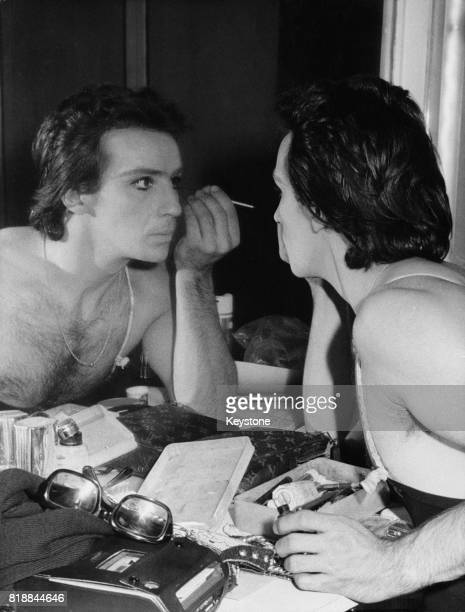 French ballet dancer Patrice Bart applies his makeup in the dressing room 18th January 1972 He has just been awarded the honorary title of 'danseur...