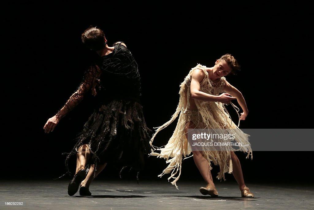 French ballet dancers French ballet dancers Aurelie Dupont and Nicolas Le Riche dance 'Darkness is hiding black horses' by Japanese choreographer Saburo Teshigawara at the Opera Garnier in Paris on October 29, 2013.
