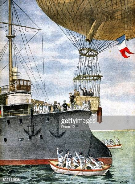 French balloonists flying between Toulon and Algeria stepping out of the basket on the deck of a French naval vessel From 'Le Petit Journal' 3...