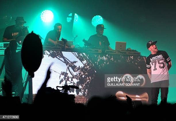 French band Chinese Man performs on stage during the 39th edition of 'Le Printemps de Bourges' music festival in Bourges on april 26 2015 AFP PHOTO /...