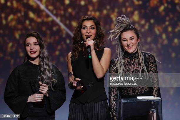 French band LEJ's members singer Elisa Paris French singer Lucie Lebrun and violoncellist Juliette Saumagne react after receive after receiving the...