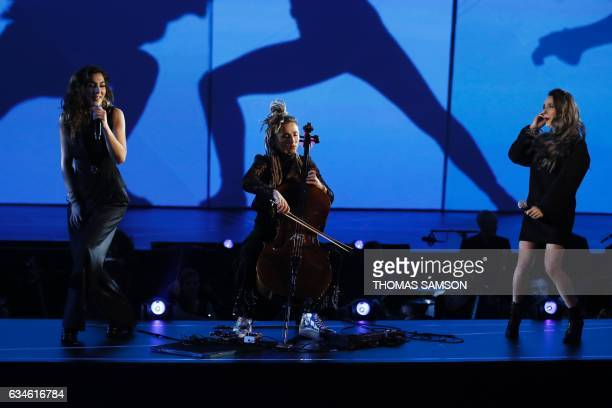 French band LEJ's members singer Lucie Lebrun singer Elisa Paris and violoncellist Juliette Saumagne perform on stage during the 32nd Victoires de la...