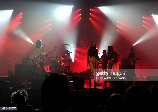 French band 'Minuit' performs on stage as part of the 39th edition of 'Le Printemps de Bourges' rock and pop music festival in Bourges on April 28...
