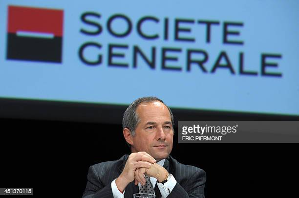 French bank Societe Generale CEO Frederic Oudea attends a meeting as part of the Actionaria shareholders event in Paris on November 22 2013 AFP PHOTO...