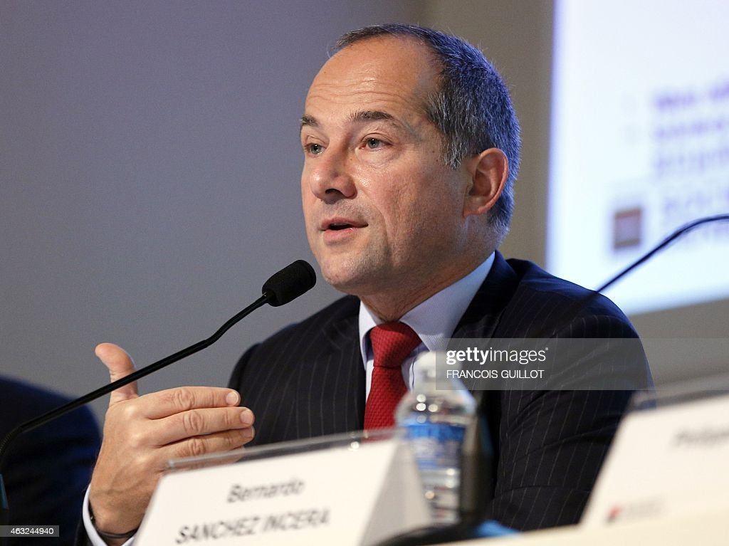 French bank Societe Generale CEO Frederic Oudea gives a press conference to present the group's fullyear 2014 results on February 12 2015 at the...