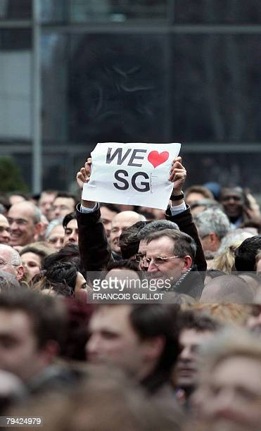 French bank Societe Generale's employees gather in front of the bank's heaquarters 31 January 2008 in La Defense west of Paris to protest against the...