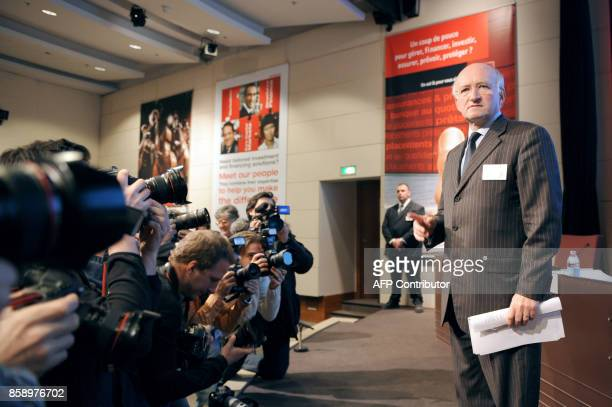 French banking group Societe Generale CEO Daniel Bouton prepares to give a press conference 24 January 2008 in La Defense outside Paris Trading in...