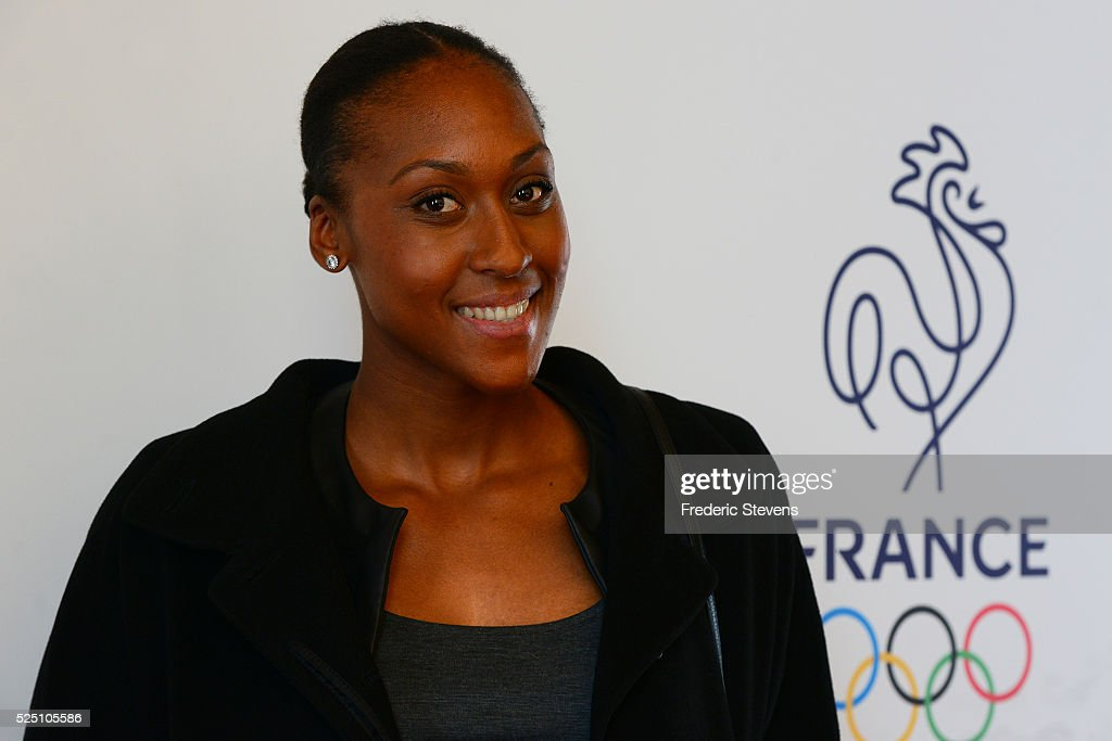 French basket woman <a gi-track='captionPersonalityLinkClicked' href=/galleries/search?phrase=Sandrine+Gruda&family=editorial&specificpeople=711208 ng-click='$event.stopPropagation()'>Sandrine Gruda</a> poses during the French Olympic team's launch of their 100-day countdown to the opening of the 2016 Rio Olympic Games at the Palais Chaillot on April 27, 2016 in Paris, France.