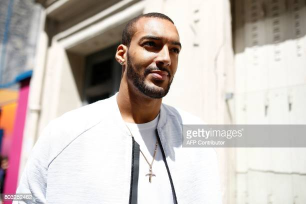 French basketball player and Utah Jazz's centre in the US Rudy Gobert arrives at the Duperre Pigalle playground in Paris on June 29 2017 / AFP PHOTO...