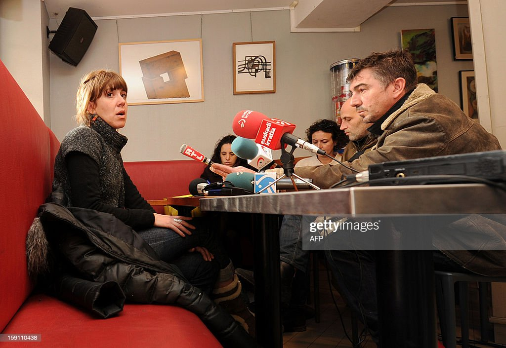 French Basque activist Aurore Martin gives a press conference in Bayonne, southwestern France, on January 8, 2013. Martin was released on bail on December 22, 2012 after spending 52 days in a Spanish prison. She had been arrested during a roadside check in southwestern France on a Europe-wide warrant issued by Madrid in 2010 over her participation in the Batasuna party, which is legal in France but outlawed in Spain for its alleged links to Basque armed separatist group ETA.