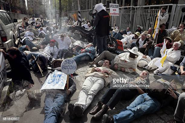 French beekeepers and apiculturists take part in a protest against pesticides which kill bees in Paris on April 1 2014 The demonstrators called the...