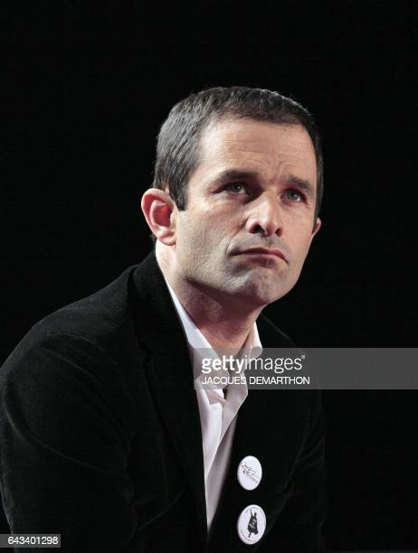French Benoît Hamon spokesman of the Socialist party is pictured as he debates with other leaders the theme 'Defeat Sarkozy and then what ' during...