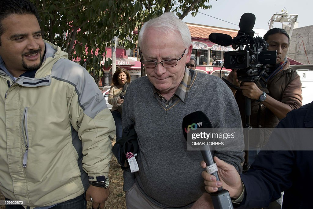 French Bernard Cassez, father of Florence Cassez, is escorted by journalists as he arrives to Tepepan prison in Mexico city on January 23, 2013 to visit his daughter. Mexican Supreme court will take Wednesday a new resolution about the situation of Florence Cassez, sentenced to 60 years of imprisonment in Mexico.
