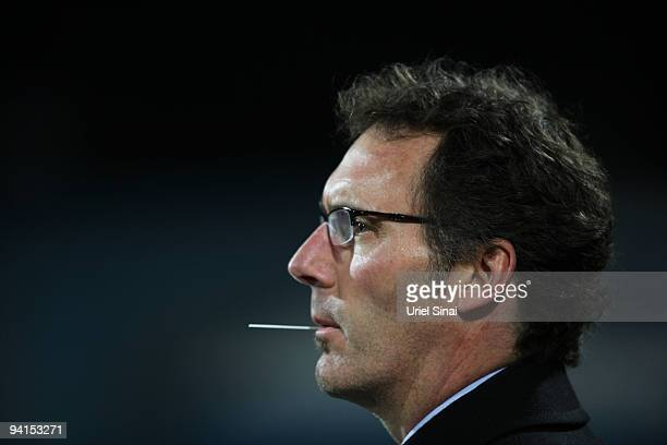 French Bordeaux's team coach Laurent Blanc waits for the start of his team's UEFA Champions League football match against Israel's Maccabi Haifa at...
