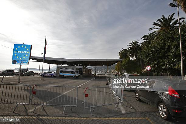 French border and customs police control vehicles at the FranceItaly border as a state of emergency is declared following Paris terror attacks on...