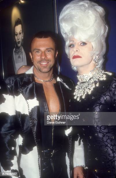 French born fashion designer Thierry Mugler with a friend at Club USA 1993 New York