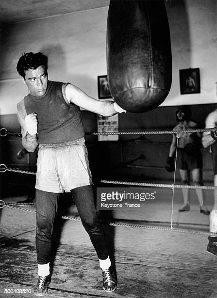 French boxer Marcel Cerdan training a last time before going to Italy where he will face Saverio Turiello on June 3 in Milan on May 30 1939 in France