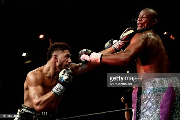 TOPSHOT French boxer Tony Yoka fights against US Jonathan Rice at the Zenith in Paris on October 14 2017 / AFP PHOTO / CHRISTOPHE SIMON
