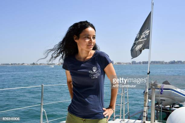 French branch president Lamya Essemlali for US NonGovernmental Organisation Sea Shepherd looks on during a press conference of the Sea Shepherd...