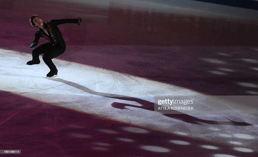 French Brian Joubert performs on ice of 'Dom Sportova' sports hall in Zagreb on January 27, 2013 during the gala of the ISU European Figure Skating Championships.