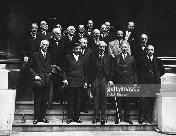 French British US and other delegates in 1931 at an economic summit in London which sought to stabilize Europe's financial position and restore...