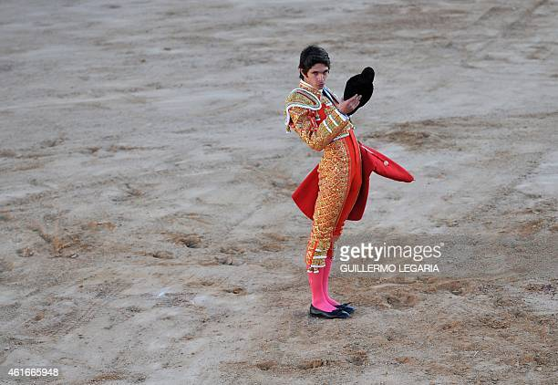 French bullfighter Sebastian Castella gestures during a bullfight at Cesar Rincon bullring in Duitama department of Boyaca Colombia on January 11...